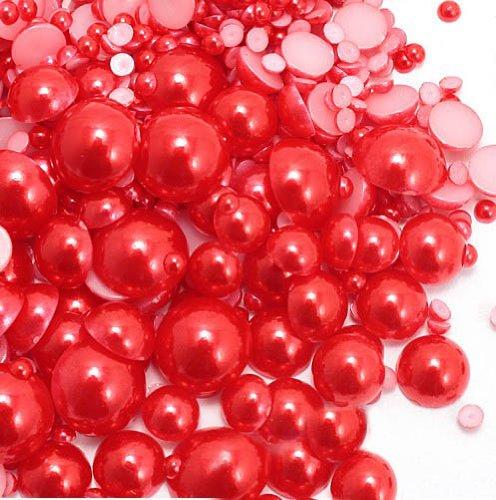 LOVEKITTY ™ 800 pcs Red Mixed Sizes Flat back Pearl Cabochon