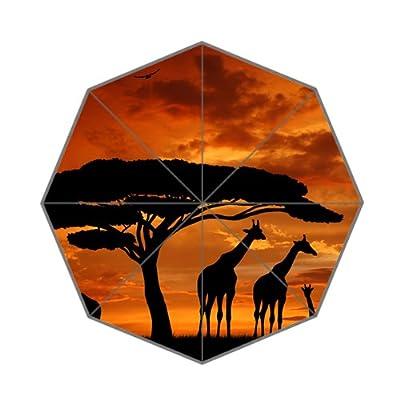 Élégant pliante Girafe Arbre Coucher de soleil Parapluie