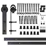 Vancleef 16FT Single Door Kit Sliding Barn Door Hardware, Classic Design, Industrial Strength, Black Rustic, Interior and Exterior Use, With Quiet Glide Roller and Descriptive Installation Manual