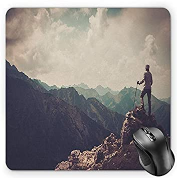 Mountain 8x10 FT Photo Backdrops,Woman Hiker on The Top of a Mountain Hobby Climbing Activity Adventure Trekking Background for Party Home Decor Outdoorsy Theme Vinyl Shoot Props Multicolor