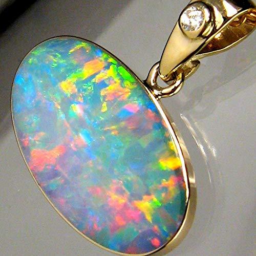 Genuine Australian Opal & Diamond Pendant Inlay Jewelry 14k Gold Gift 6.2ct #B03