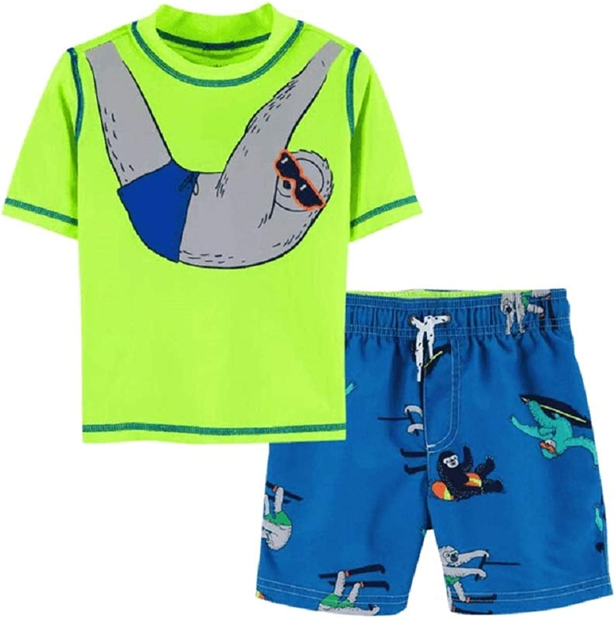 Carter's Baby Boys' 2- Piece Sloth Swim Bundle Set with UPF 50+ Sun Protection Size 6 Months Yellow
