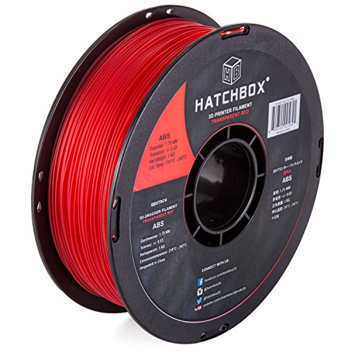 - HATCHBOX ABS 3D Printer Filament, Dimensional Accuracy +/- 0.03 mm, 1 kg Spool, 1.75 mm, Transparent Red