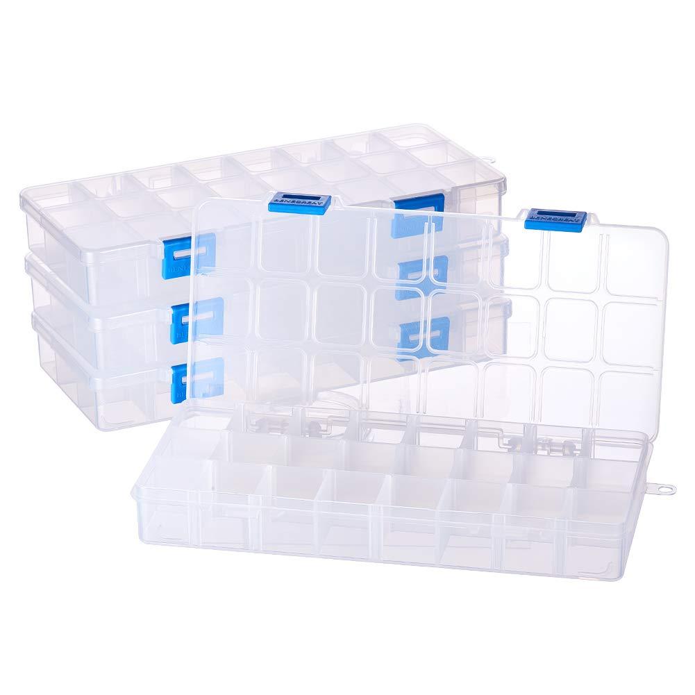 BENECREAT Bijoux Intercalaires Boîte Organiseur réglable Plastique Transparent de Haute qualité Perle Coque de Conservation CON-BC0001-01-US