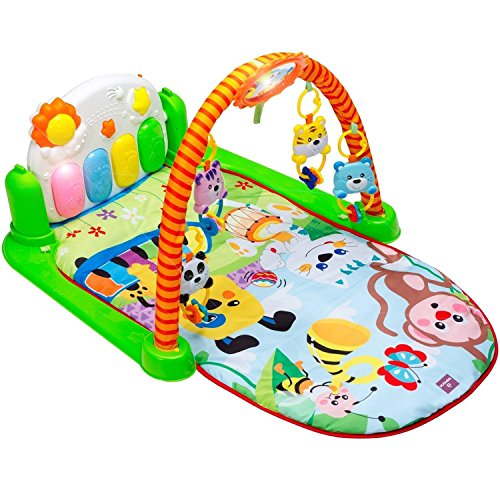 Tapiona Play Gym For Baby Kick And Play Mat For Infants   Activity Piano Mat For Boy And Girl 0 36 Month   2 Modes Kick Piano  Mirror  4 Rattle Toys   Lay And Play  Sit And Play  Tummy Time