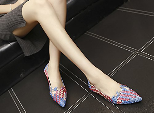 Anfitrión De Punta Afilada FeHombresina De Qzunique Con Cortes De Color Entrelazados Zapatos Planos De Color Azul