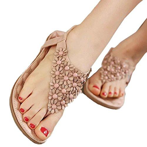 hunpta - Sandalias deportivas de cuero sintético para mujer Rosa
