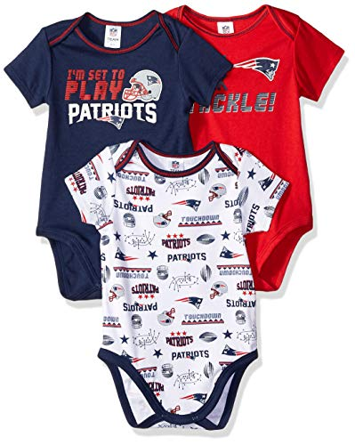 NFL New England Patriots Unisex-Baby 3-Pack Short Sleeve Bodysuits, Blue, 3-6 Months