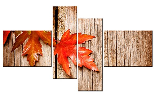 (Modern Canvas Painting Wall Art The Picture For Home Decoration Of Canada Red Maple Leaves Print On Canvas Giclee Artwork For Wall Decor 4 Panels (48