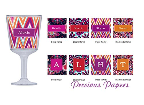 Personalized plastic wine glass in your choice of color and style makes a great womens gift, bachelorette gift, girls trip gift (Personalized Plastic Wine Glasses)