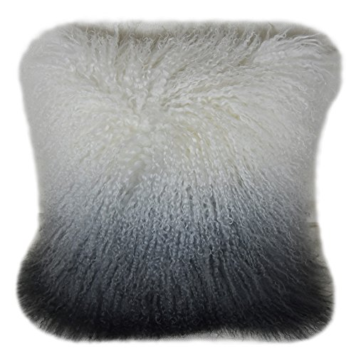 Lichao Ombre Mongolian Lamb Fur Pillow Cover Luxurious Sheep Skin Cushion Cover Soft Plush Curly Pillow Case Home Decorative Square Wool Throw Pillow cover 16X16 Inch Bedroom Pillow Protector (Grey) - Wool Square Pillow