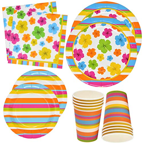 Luau Hawaiian Party Supplies Tableware Set 24 9
