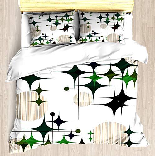 (NTCBED Eames Era Starbursts Globes - Duvet Cover Set Soft Comforter Cover Pillowcase Bed Set Unique Printed Floral Pattern Design Duvet Covers Blanket Cover Queen/Full Size)
