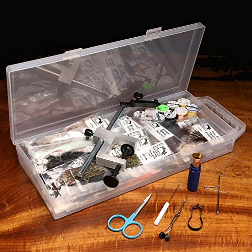 (Hareline Fly Tying Material Kit with Premium Tools and Vise)