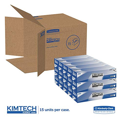 Kimtech 34705 Kimwipes Delicate Task Wipers, 2-Ply, 11 4/5 X 11 4/5, 119/box, 15 Boxes/carton