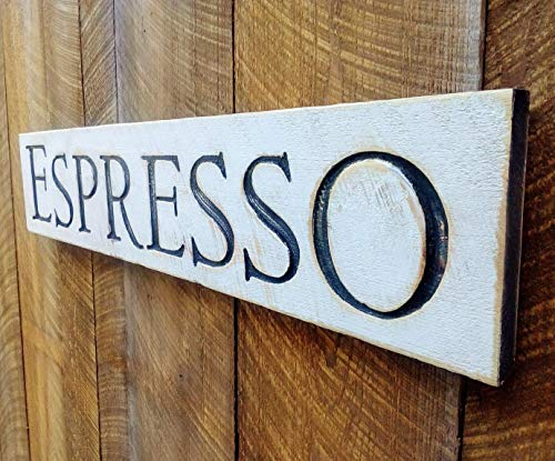 """Espresso Sign - Carved in a Wood Board 40""""x8"""" Rustic Distressed Shop Advertisement Shop Farmhouse Wooden Fixer Upper Style"""
