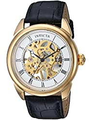 Invicta Mens Specialty Mechanical Hand Wind Stainless Steel and Leather Casual Watch, Color:Black (Model: 23535)