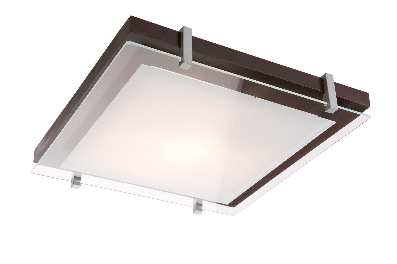 Naka24 Deckenleuchte Deckenlampe Holz Glas mod PD E27 eckig (PD 2.1 25711 Wenge 30x30 cm)