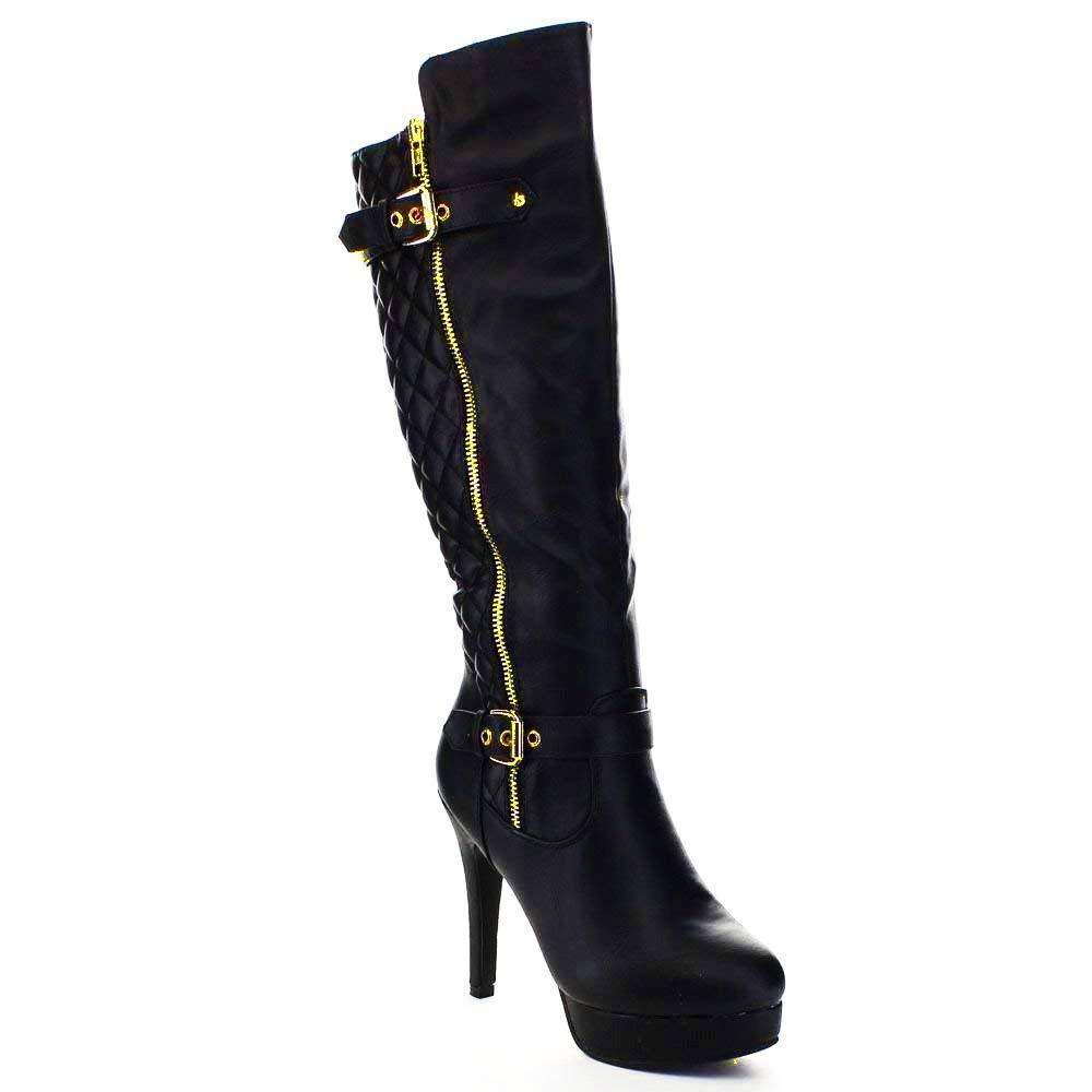 c306b529475 Top Moda Win-6 Women s Quilted Knee-High Stiletto Heel Platform ...
