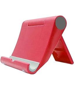 Outflower Lazy mobile phone stand desktop multifunzione rotante tablet computer base del telefono mobile accessori moda pieghevole in plastica porta cellulare rosso Red 9x10.5x2.5cm