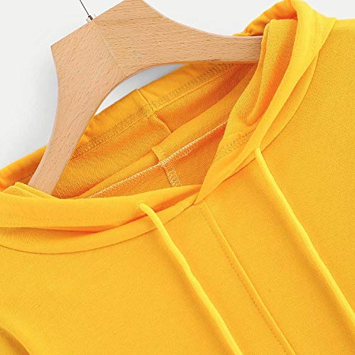 Tops Sweatshirt Pocket Hooded Blouse Yellow Round Morwind Sleeve Asymmetrical Long Neck Womens xnqXRwC8v