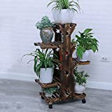 ZPMZ- Solid Wood Flower Stand Multilayer Balcony Living Room Modern Landing Flowerpot Racks Indoor Mobile Plant Shelves With Wheel ( Color : Carbonized tree , Size : 5-layer )