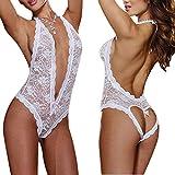 Twinsmall Womens Open Back Deep V Halter Lingerie,Comfortable Scalloped Trim Lace Lingerie Bodysuit (White, M)