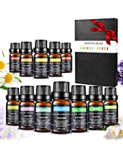 Essentiële oliën-set, Aiemok 12 x 10 ml aromatherapie-oliën Geschenkset voor diffuser en huid- en haarverzorging, 100% puur therapeutisch startpakket - het beste voor massage-spa-diffusors Premium geurende oliën