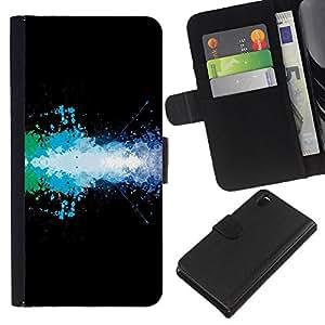 KLONGSHOP // Tirón de la caja Cartera de cuero con ranuras para tarjetas - Diseño Color Splash - Sony Xperia Z3 D6603 //
