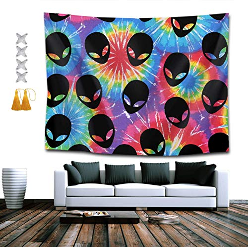 NiYoung Tie Dye Alien Tapestry, Boho Bedding Tapestry Wall Hanging Tapestries – Multi-Purpose Indian Decorations Home Art Living Room Bedroom Dorm Room