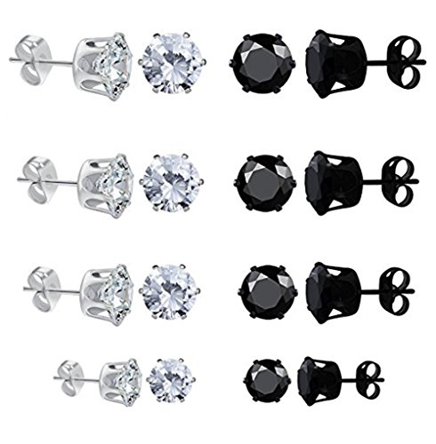 White Gold Plated Womens Mens Round Stud Earrings Black Clear Cubic Zirconia Inlaid, 8 Pairs 4mm-8mm