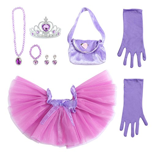 Set Purse Accessory (Toiijoy 9Pcs Girls Princess Costume Dress up Set with Princess Mini Tutu,Princess Purse,Gloves,Tiara Crown for Toddlers Kids)