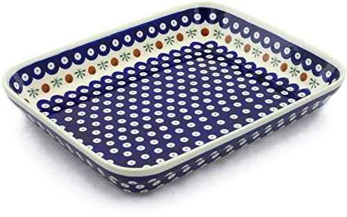 Polish Pottery 11¾-inch Rectangular Baker (Mosquito Theme) + Certificate of Authenticity