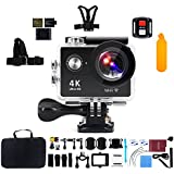 Action Camera, Kebo 2.0 LCD Screen 4K WiFi Ultra HD Waterproof Sport Camera with 170 Wide-Angle Lens, Including Full Accessories Kits and Waterproof Case - Black