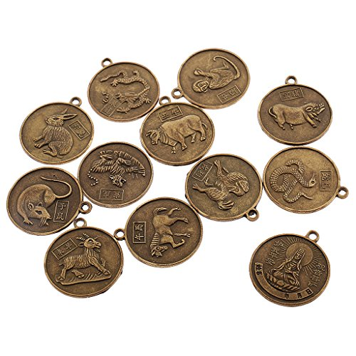MonkeyJack Set of Chinese 12 Zodiac Signs Pendant Round Double Sided Horoscope Charms