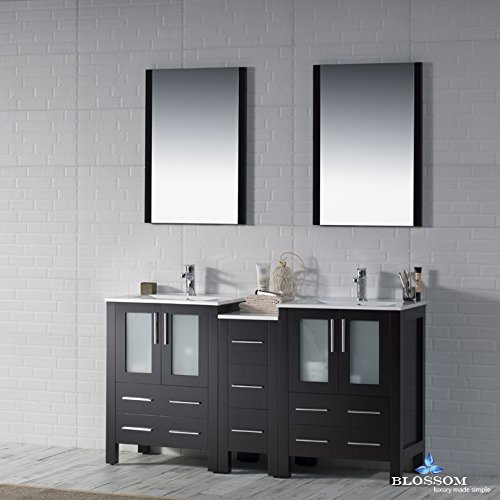 BLOSSOM 001-60-02-D Sydney 60'' Double Vanity Set with Mirrors Espresso