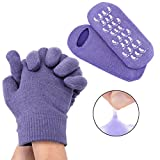 CCbeauty Gel Moisturizing Gloves and Socks Gel Linning with Essential Oils for Repair Dry Rough Cracked Eczema Hands/Feet Spa Beauty Gift, (Cotton/Purple)