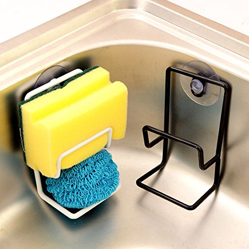 MAZIMARK-Suction Cup Base Kitchen Brush Sponge Sink Draining Towel Rack Washing Holder by MAZIMARK