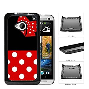 Cute Red and White Polka Dots Pattern on Bottom and Bow with Black Background Hard Snap on Phone Case Cover Android HTC One M7