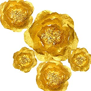Handcrafted Flowers(Gold flower Set Of 5),Large Crepe Paper Flowers For Wedding Backdrop, Baby Nursery Home Decor, Birthday Party, Photo Backdrop,Nursery Wall,Archway Decor,Event Decorations 9