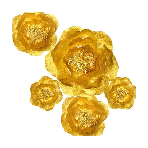 Handcrafted-FlowersGold-flower-Set-Of-5Large-Crepe-Paper-Flowers-For-Wedding-Backdrop-Baby-Nursery-Home-Decor-Birthday-Party-Photo-BackdropNursery-WallArchway-DecorEvent-Decorations