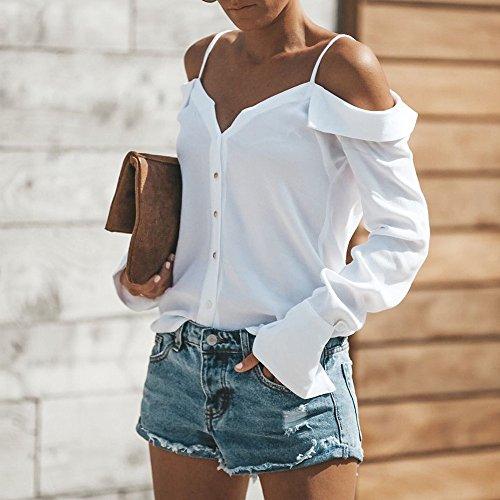 Levifun Lunga Maglietta Ragazze Spalla Maglie Bianco Casuale Elegante Una Manica Blusa Autunno Camicetta Donna Felpe Top Solido 1txYpnqr1
