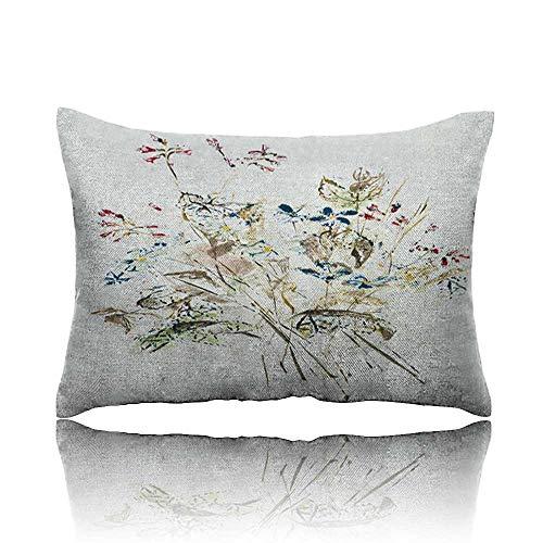 Neck Pillow Hand Drawn Wildflower Bouquet Wedge Pillow 16