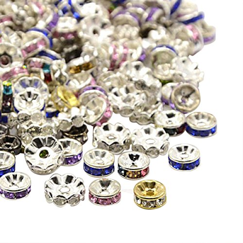 Pandahall 500PCS Mixed Iron Rhinestone Spacer Beads, 6~10x3~4mm ()