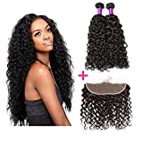 Brazilian Water Wave 13x4 Lace Frontal Human Hair Closure with Bundles for Black Women 150% Density Free Part Lace Frontal Pre Plucked with Baby Hair(12 14+10, Natural Color)