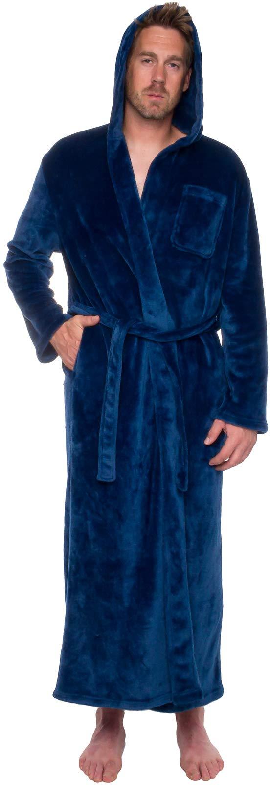 Ross Michaels Mens Hooded Long Robe - Full Length Big & Tall Bathrobe (Navy, L/XL)