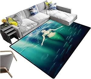 "Mermaid Carpet mat Fairytale Mermaid with Fish in Sunbeams Sun Rays Magical Underwater World Children Play Mat Green Aqua Purple (4'7""x6'6"")"