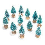 Mini Pine Trees with Wood Base, Christmas Decorations Ornaments Set, 12 Pack Frosted Cream Bottle Brushes