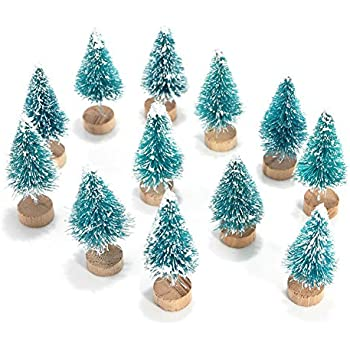 mini pine trees with wood base christmas decorations ornaments set 12 pack frosted cream - Bottle Brush Christmas Trees