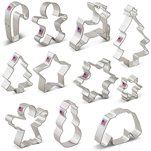 Winter Christmas Cookie Cutter Set - 11 Piece - Snowflake, Sweater, Snowman, Gingerbread Boy, Snow Tree, Angel, Star, Christmas Tree, Snowflake, Candy Cane, Reindeer - Ann Clark - US Tin Plated Steel Tin Father Christmas Decorations